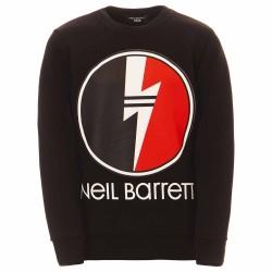 Neil Barrett black lightning bolt circle jumper