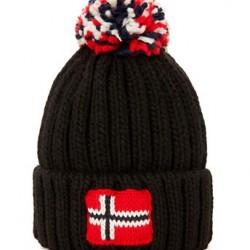 Napapijiri black pom pom hat