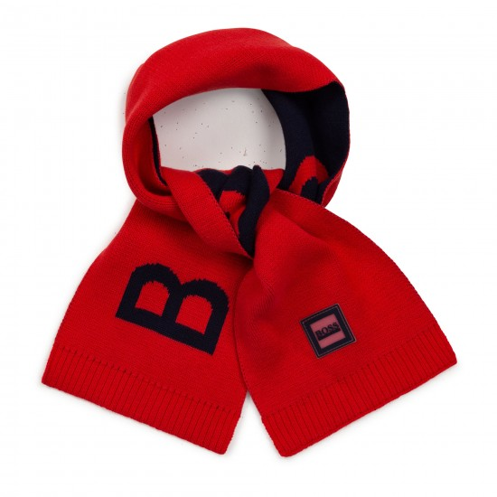 Hugo Boss red and navy scarf