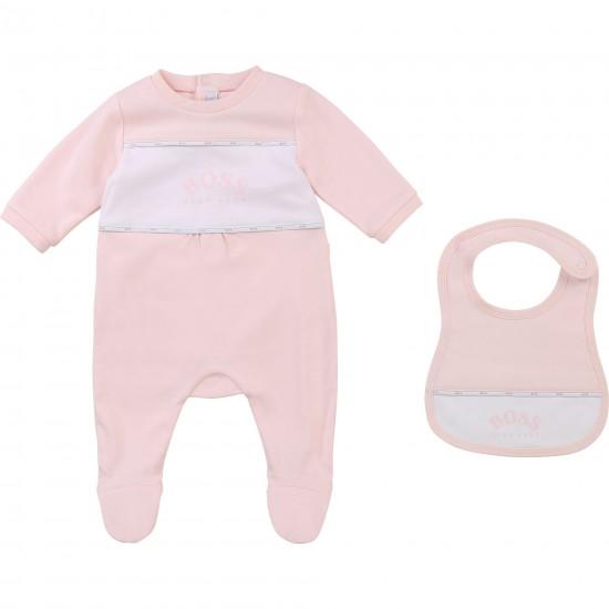 Hugo Boss pale pink pyjamas and bib set