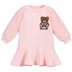 Moschino pale pink teddy logo dress