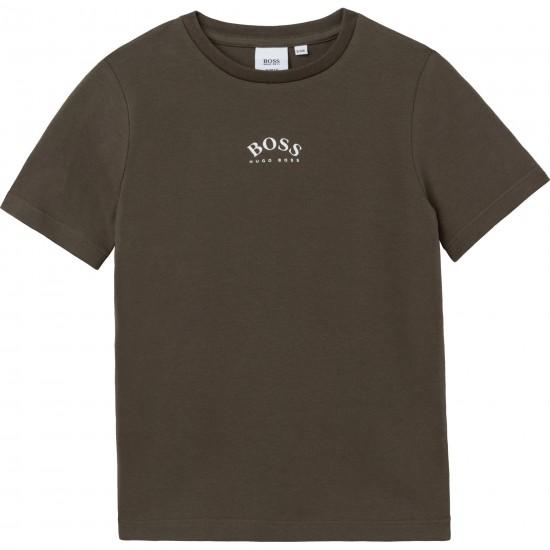 Hugo Boss khaki logo t-shirt