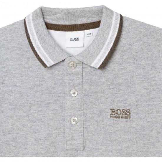 Hugo Boss grey polo top