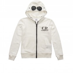 CP Company cream hooded zip up top