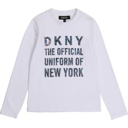 DKNY white long sleeve logo top
