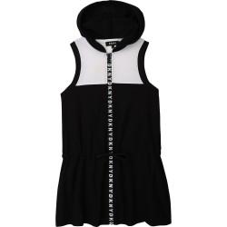 DKNY black and white hooded dress