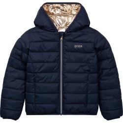 Hugo Boss navy blue/gold reversible puffer jacket