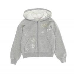 Monnalisa grey hooded zip up top