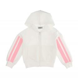 Monnalisa cream zip up hooded top