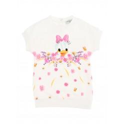 Monnalisa white Daisy Duck sweatshirt dress
